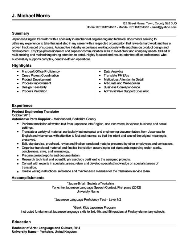 Mike's CV before TopCV